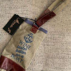NWT Mona B Recycled Material Canvas Wine Bag